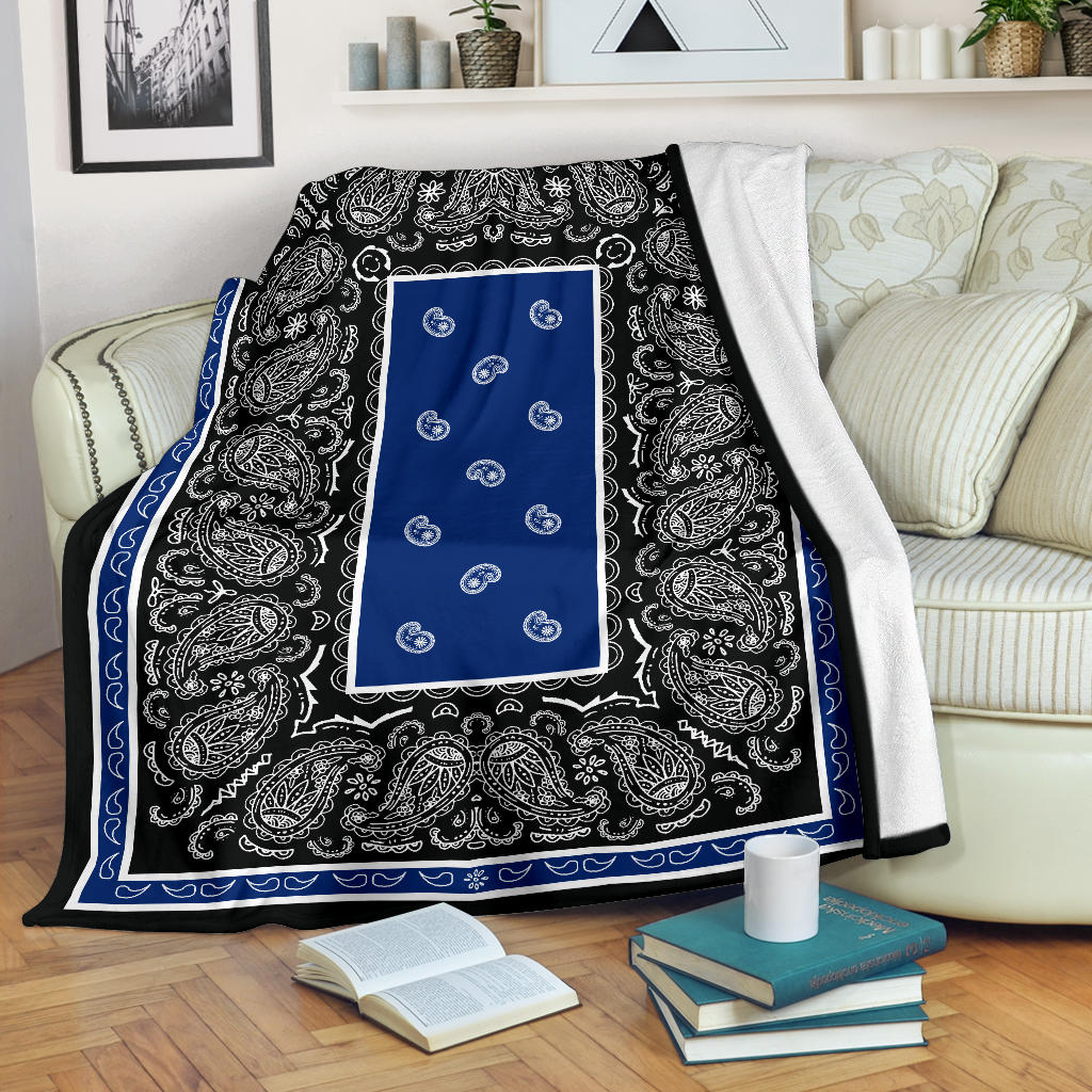 Blue and Black Bandana Throw Blanket