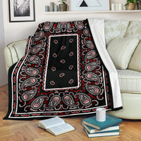 Black and Red Bandana Throw Blanket