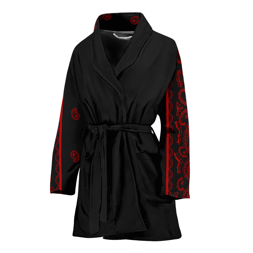black and red women's robe