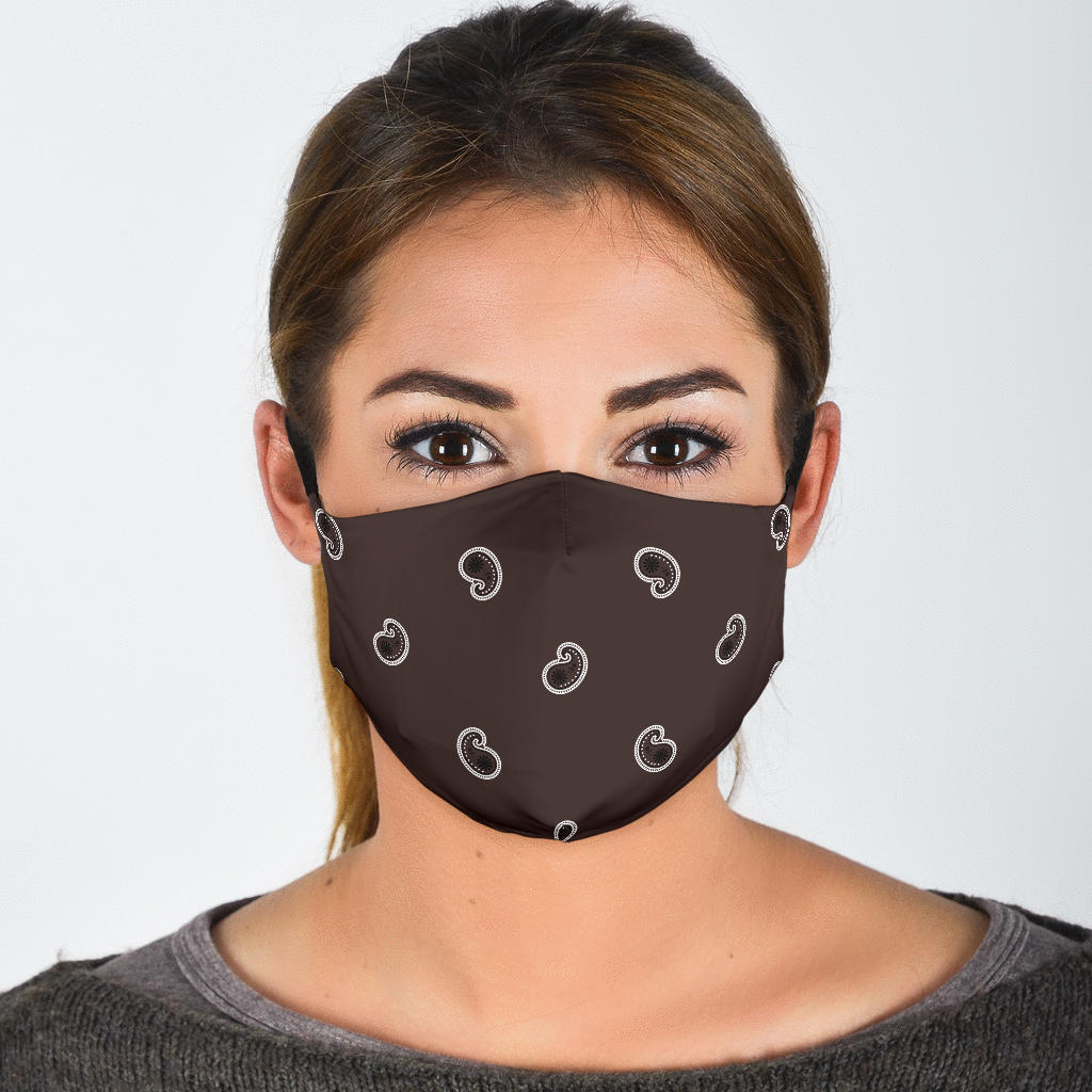 Adjustable Coffee Brown Paisley Face Mask with 5 Layer Filters