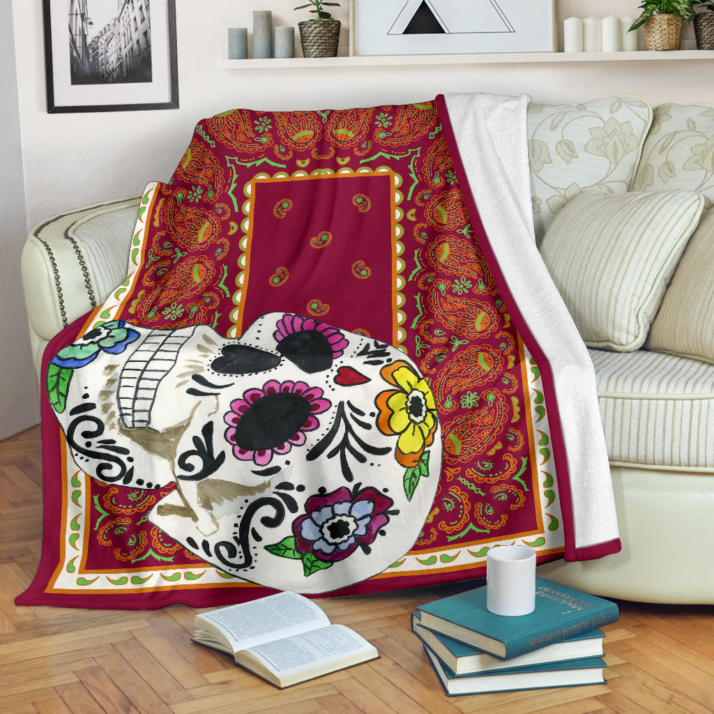 Ultra Plush Vino Sugar Skull Throw Blanket