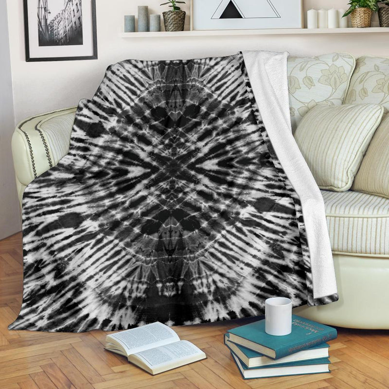 Black and White Tie Dye Fleece Throws
