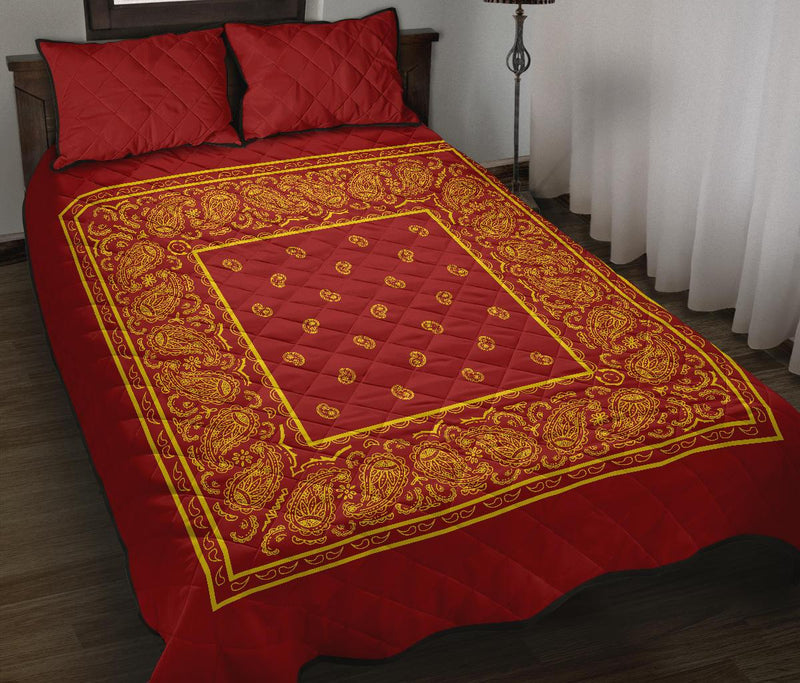 Double Red and Gold Bandana Bed Quilts with Shams