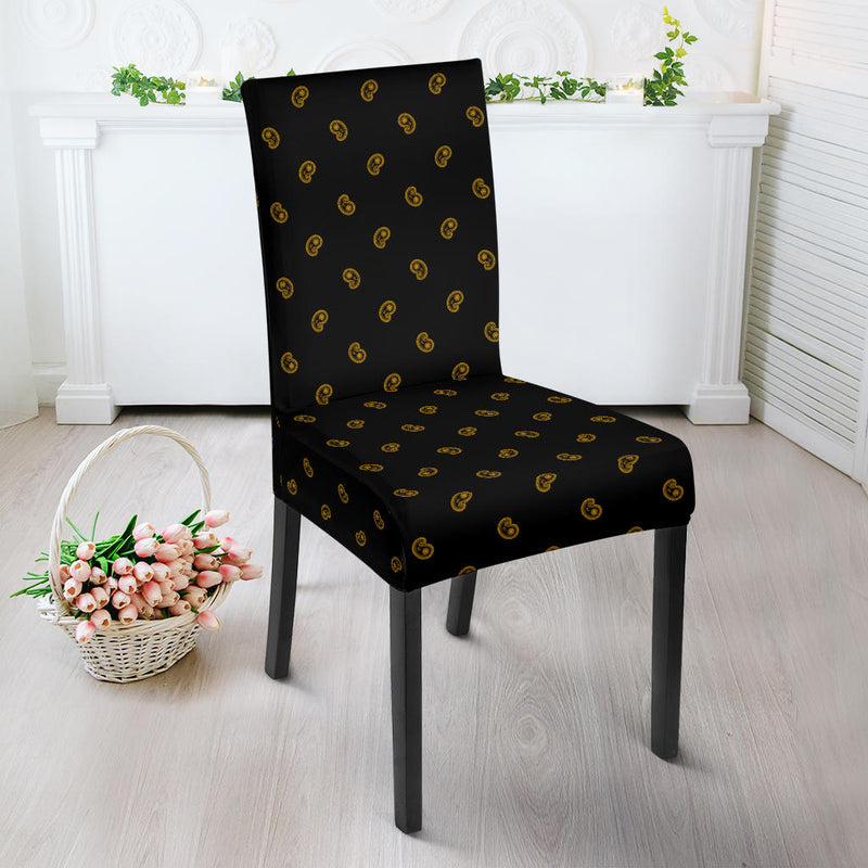 Black Gold Bandana Dining Chair Cover