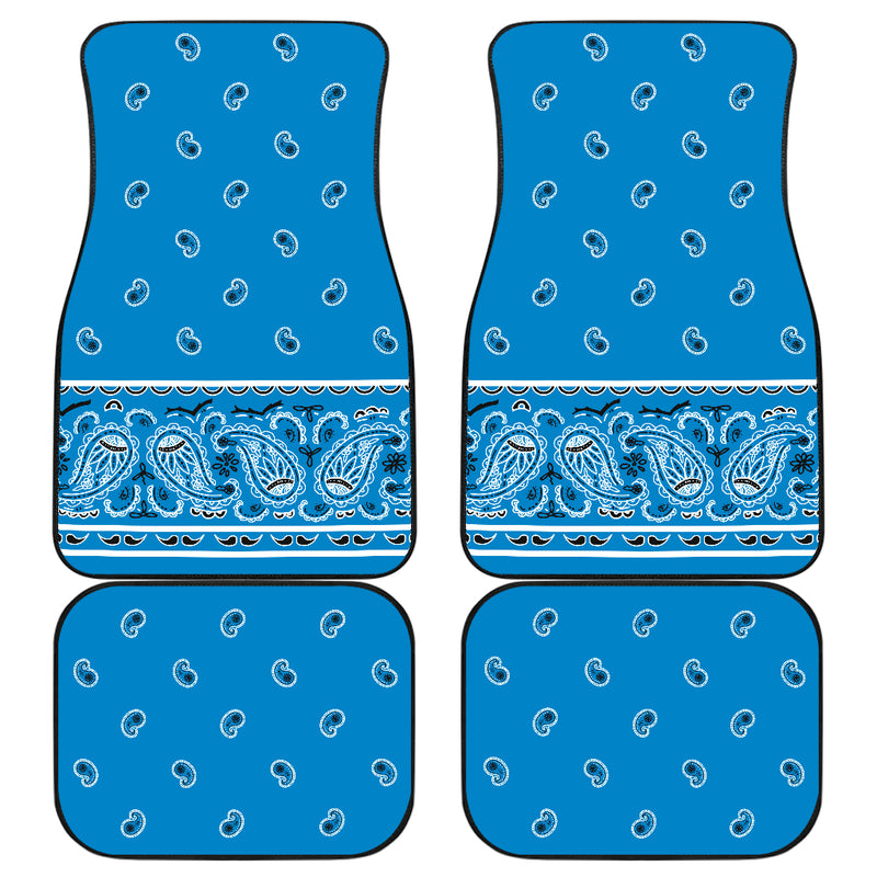 Quad Sky Blue Bandana Car Mats - Fancy