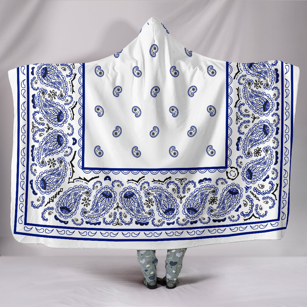 White with Blue Bandana Hooded Blankets