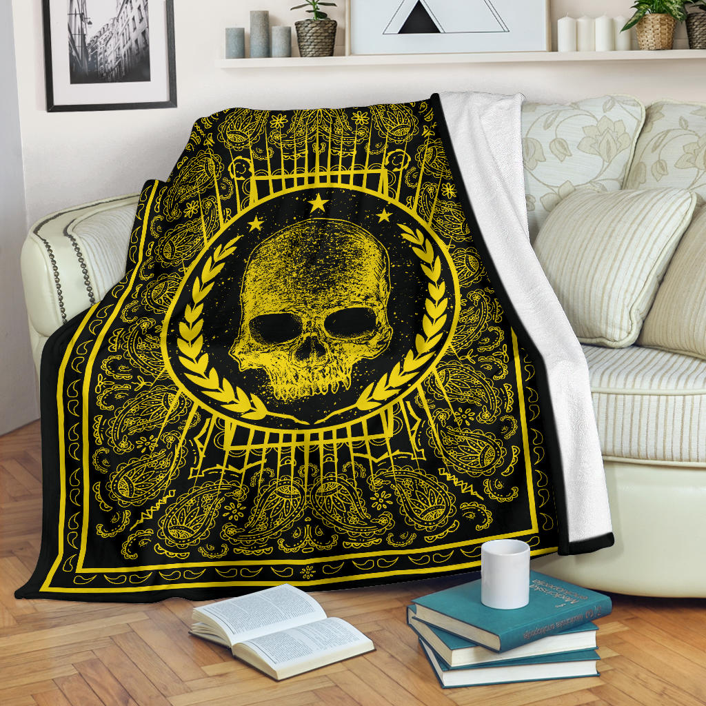 Black Gold Bandana with Skull Fleece Blanket