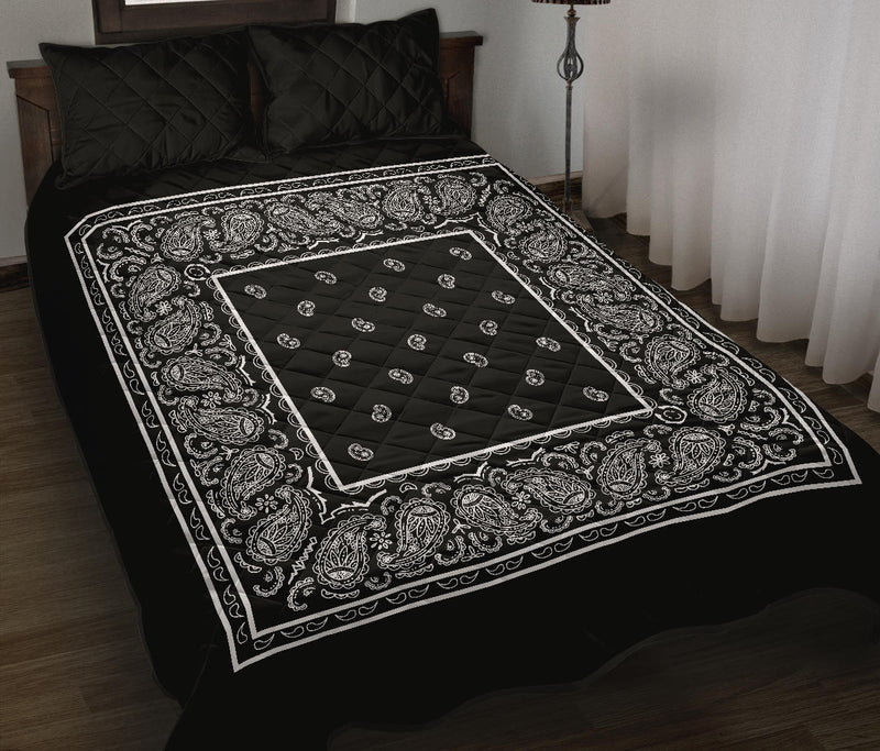 Black Bandana Bed Quilts with Shams