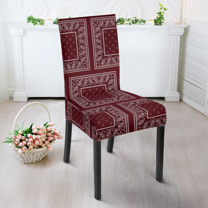 Burgundy Bandana Dining Chair Covers
