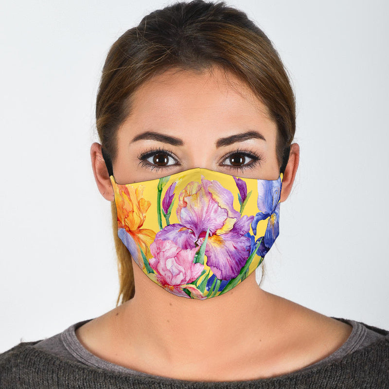 Irises Face Mask on Yellow