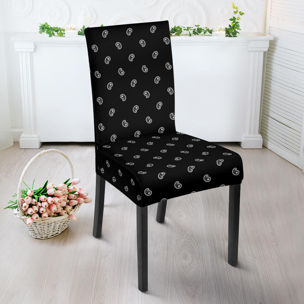Black Bandana Dining Chair Cover