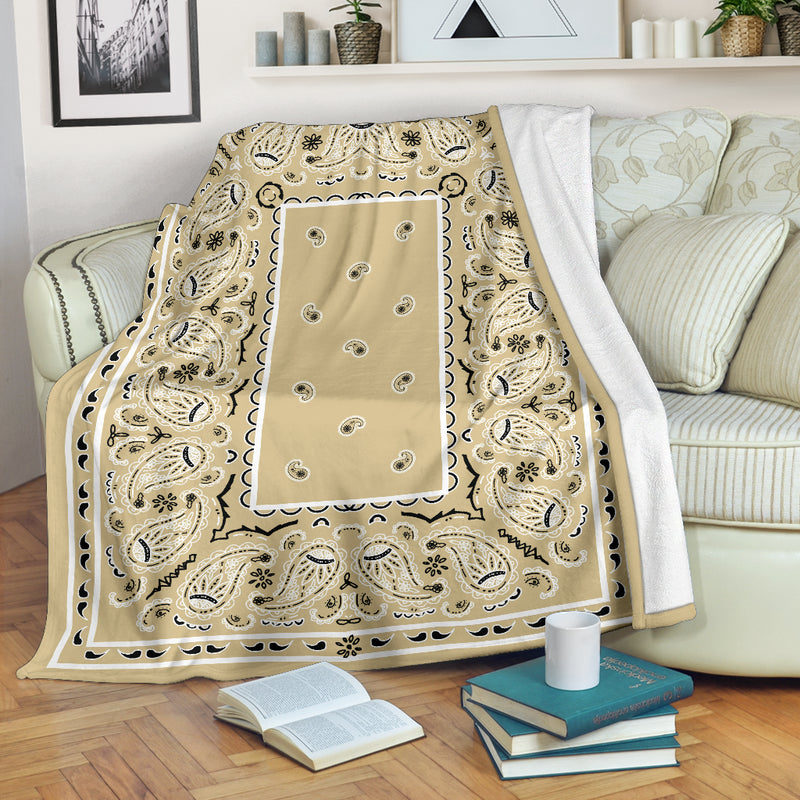 Khaki Bandana Throw Blanket