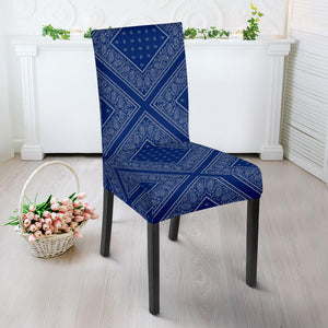 Blue and Gray Bandana Dining Chair Covers
