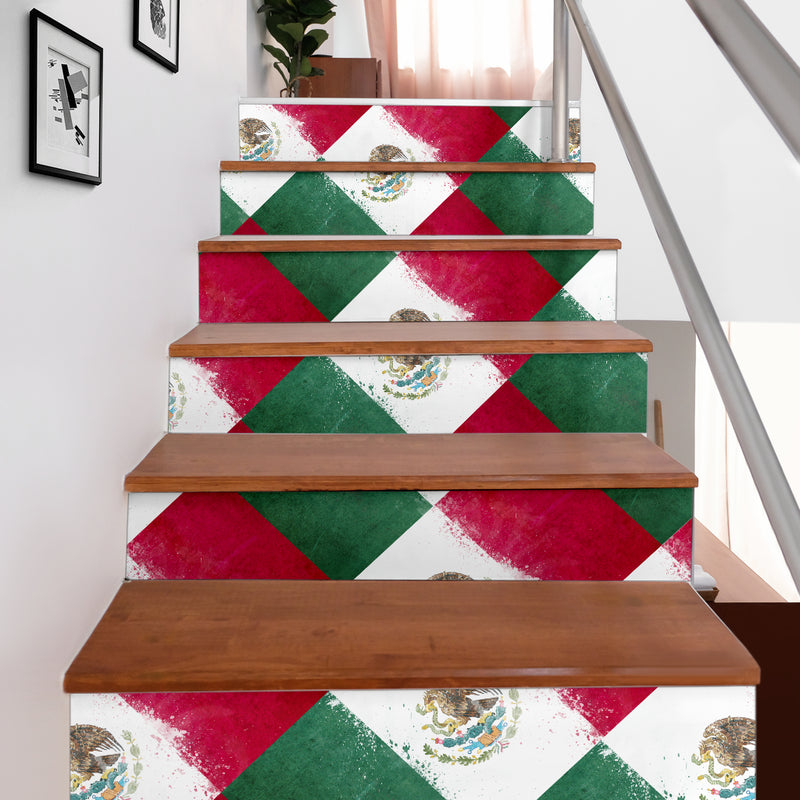 Mexican Flag Bandana Patch Stair Stickers 6 Steps