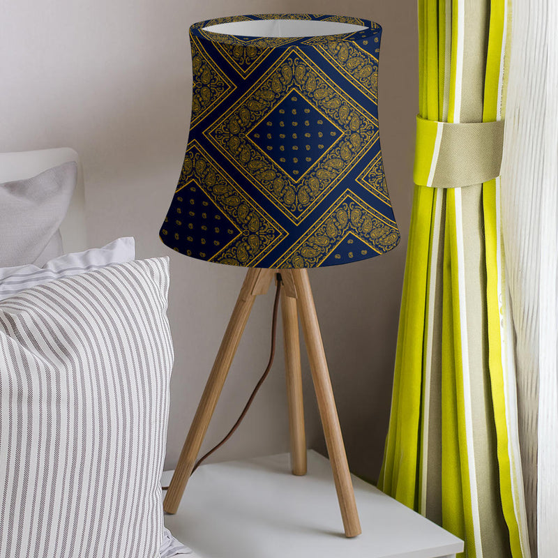blue and yellow lampshade