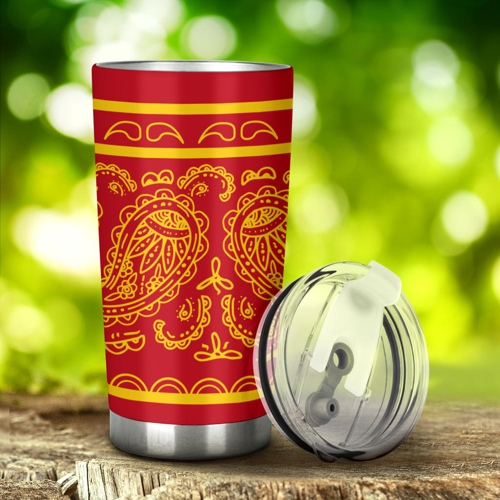 red and gold bandana car cups