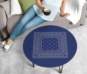 Blue and Gray Bandana Round Birch Coffee Table