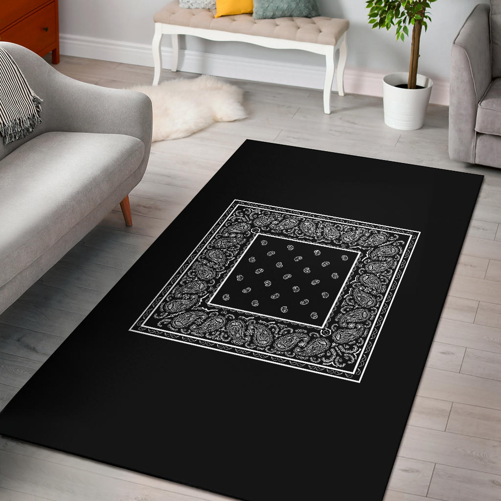 black bandana throw rug