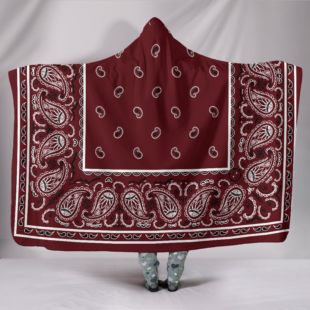 burgundy bandana hooded blanket