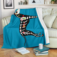 Xoloitzcuintli Dog on Blue Fleece Throw Blanket