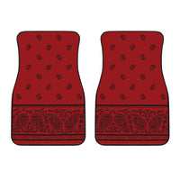 Dual Red with Black Bandana Car Mats - Fancy