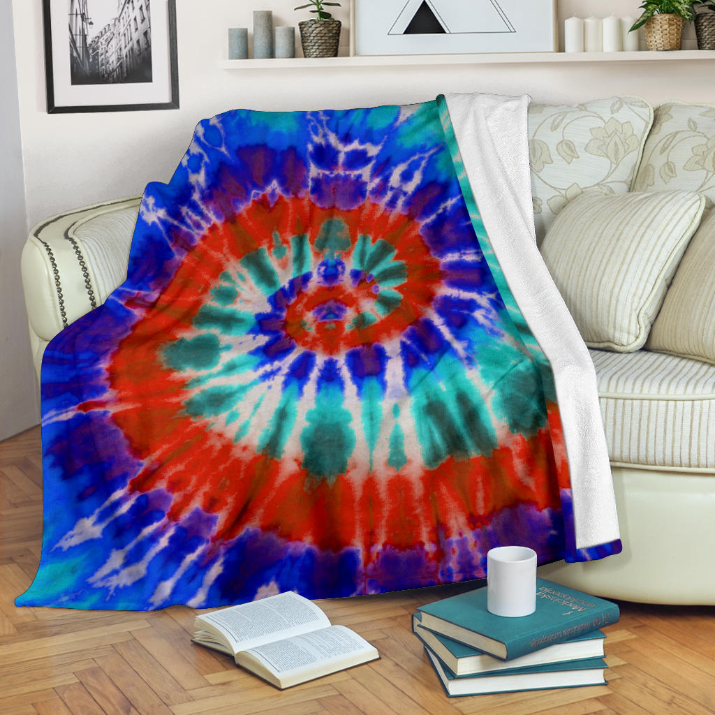 Blue Spiral Tie Dye Fleece Throw