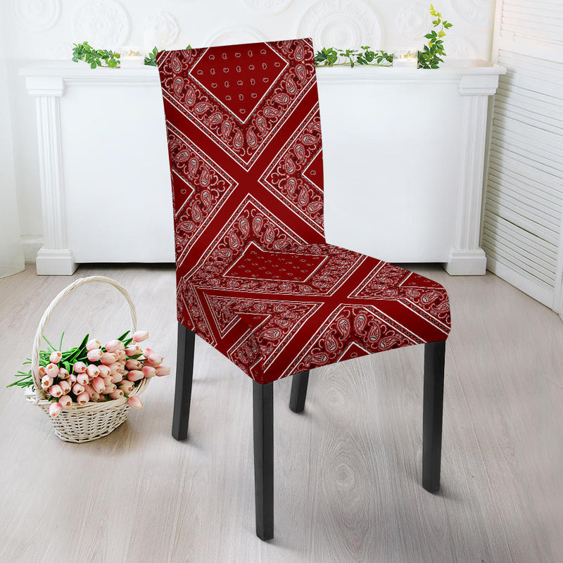 Maroon Red Bandana Dining Chair Cover