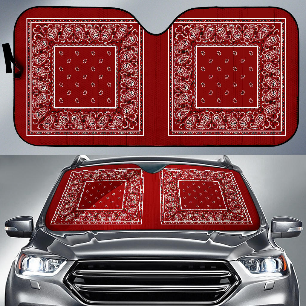 maroon red bandanas muscle car auto shade