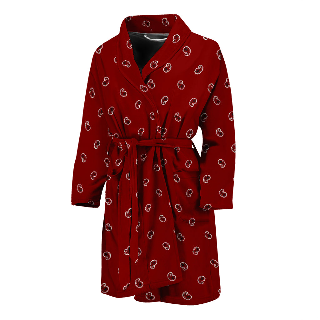 red mens bathrobe with paisley