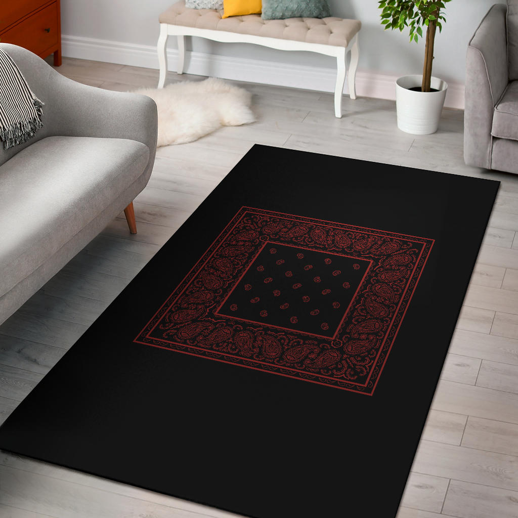black and red bandana print throw rug