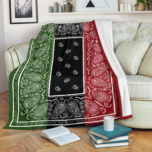 three color bandana fleece blanket