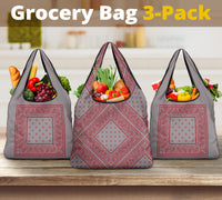 Gray and Red Bandana Reusable Grocery Bag 3-Pack
