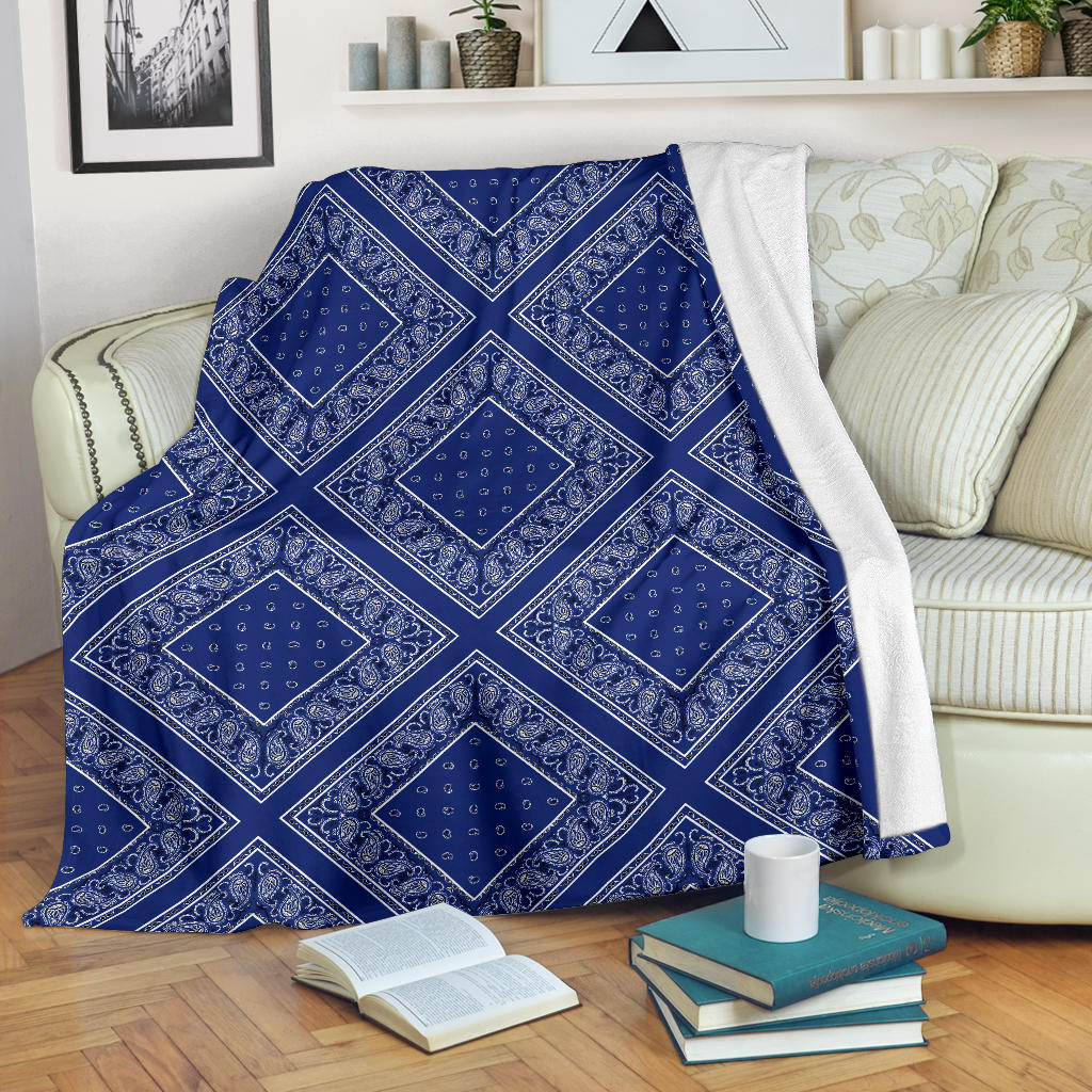 Ultra Plush Royal Blue Bandana Diamond Throw Blanket