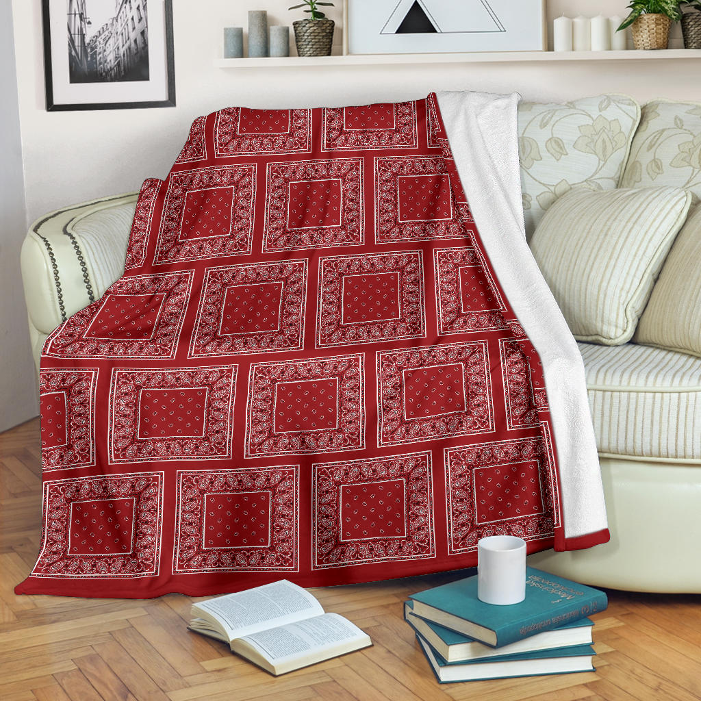 Classic Red Bandana Patch Throw Blanket