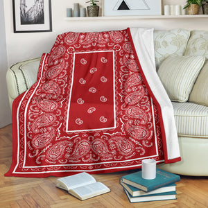 Red with White Throw Blanket