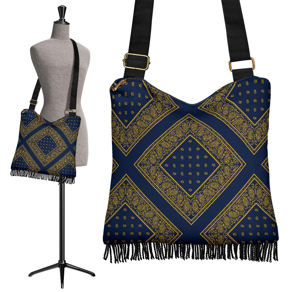 Navy and Gold Bandana Crossbody Boho Bag