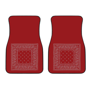 Dual Red and Gray Bandana Car Mats - Minimal