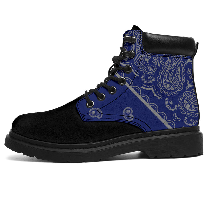 blue and gray bandana footwear