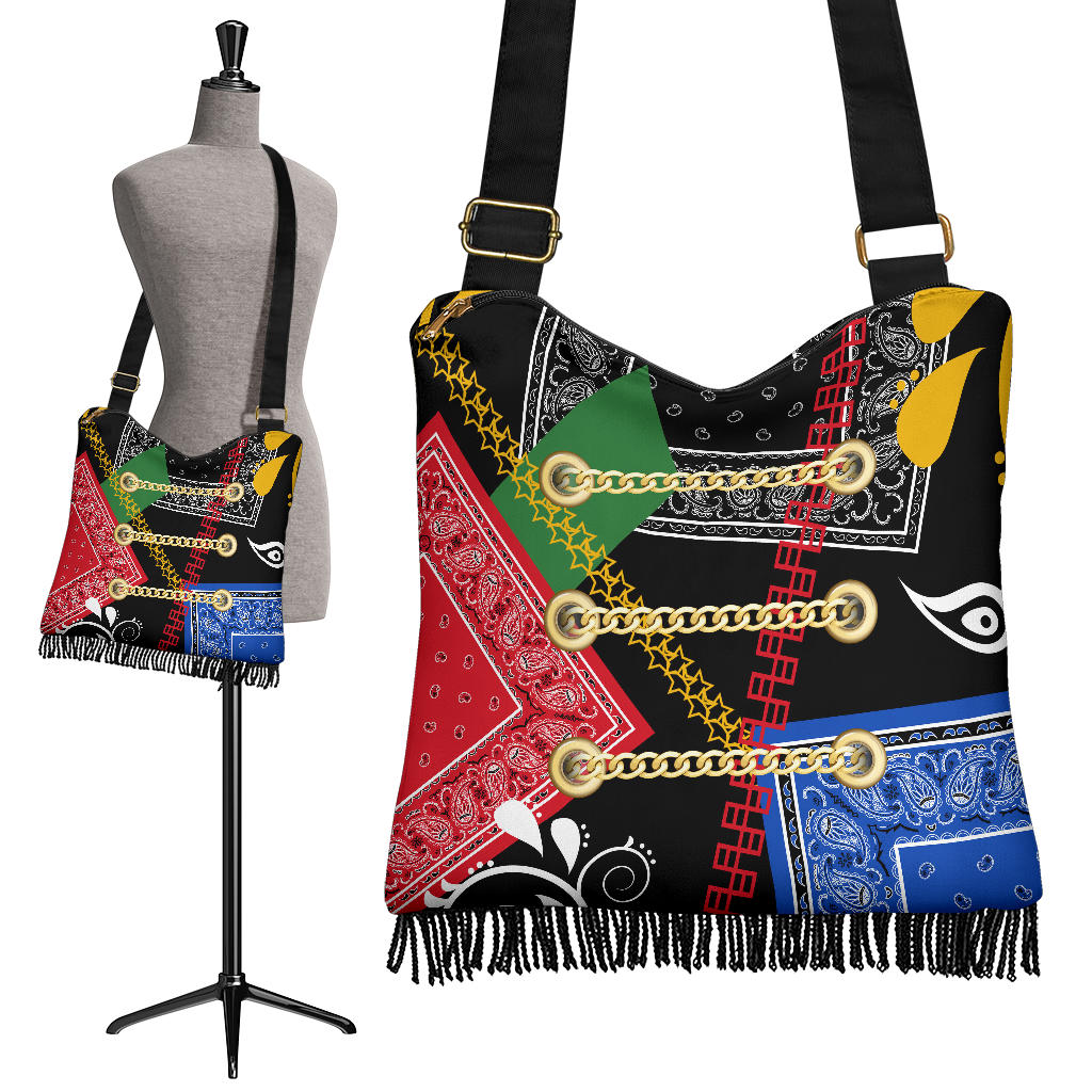 Abstract Harmony Bandana Boho Bag