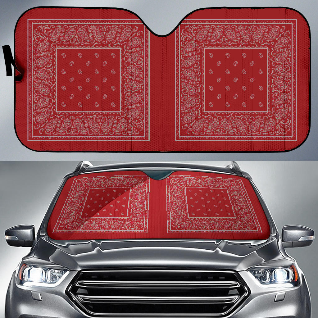red and grey bandannas hot rod window shades