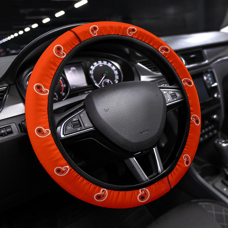 orange paisley steering wheel cover