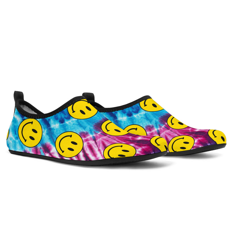 tie dye boat shoes with happy faces