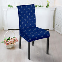 Blue and Gray Bandana Dining Chair Cover