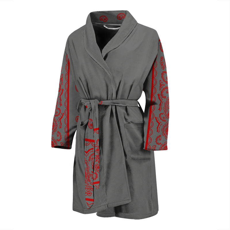gray and red bathrobe
