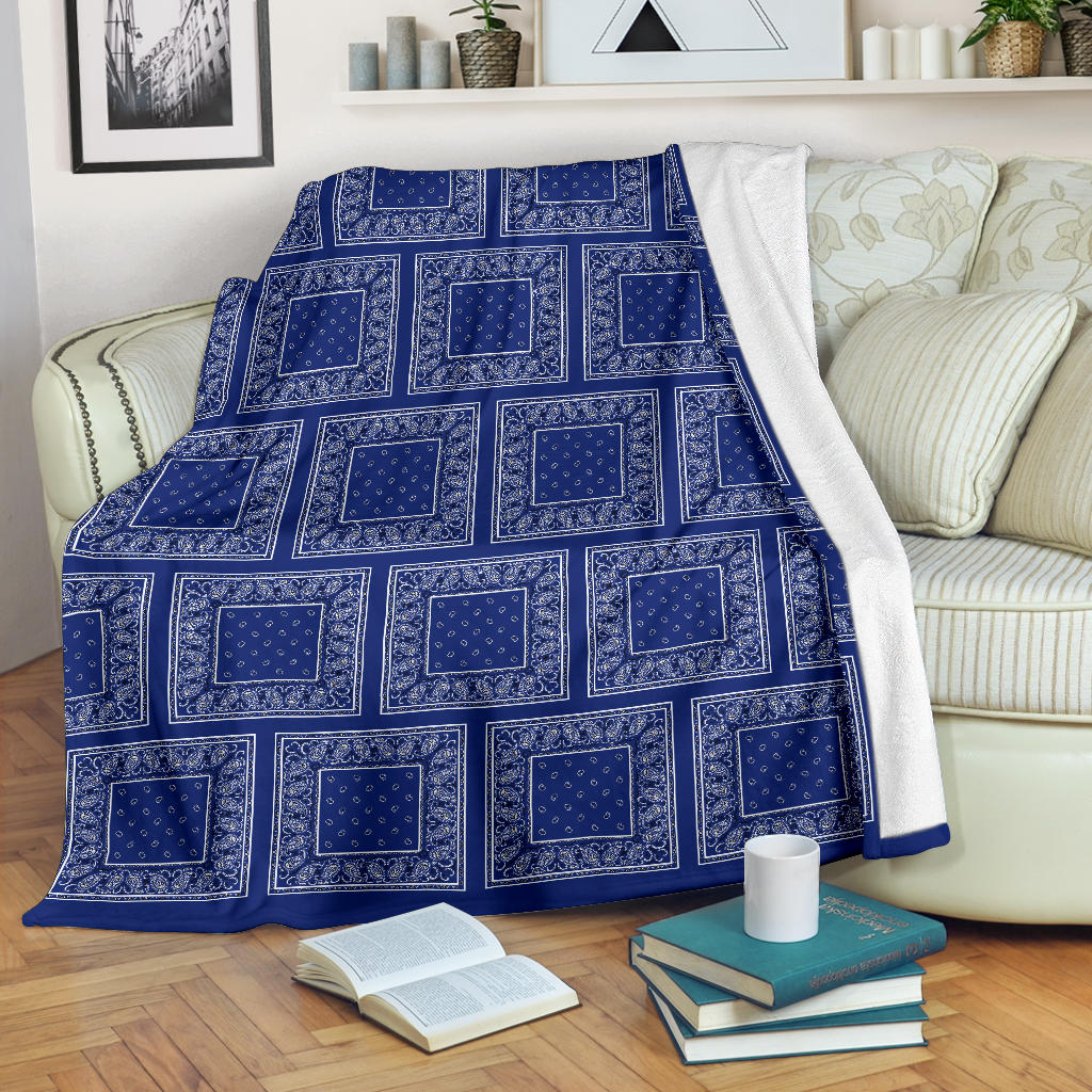 Royal Blue Bandana Patch Throw Blanket