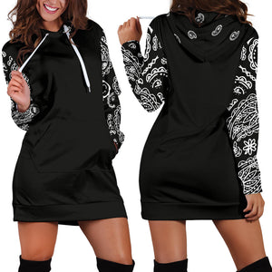 Black Bandana Hoodie Dress front and back