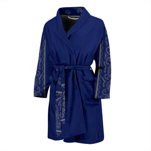 blue and gray bandana men's robe