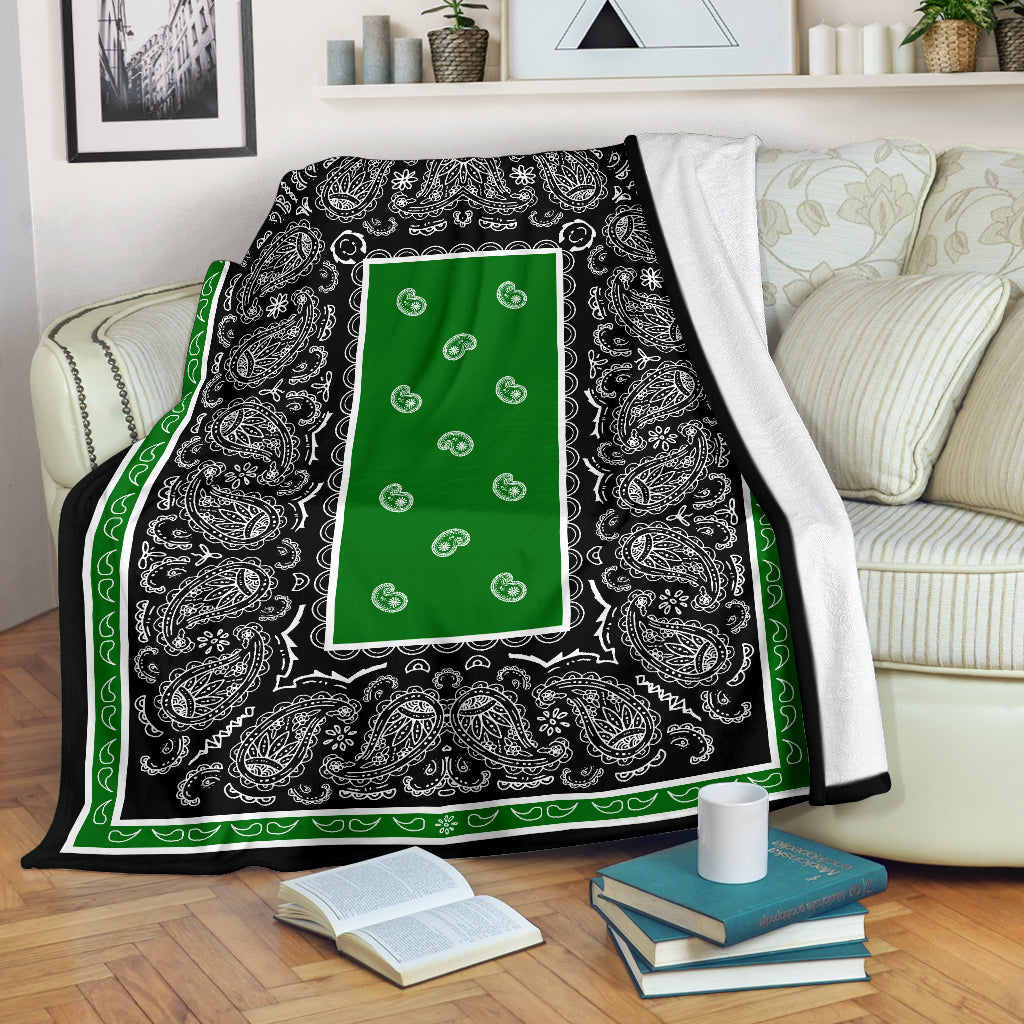 Green and Black Bandana Throw Blanket