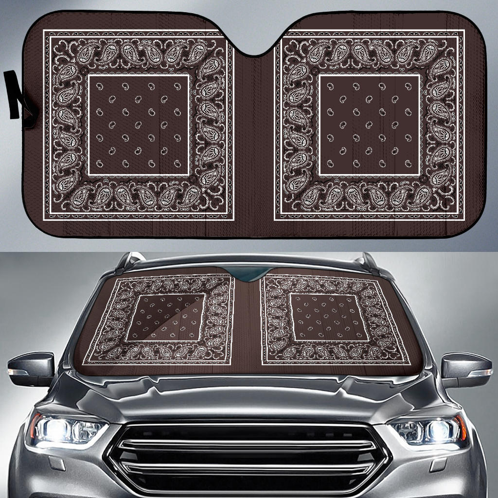 brown bandana lowrider auto window shade