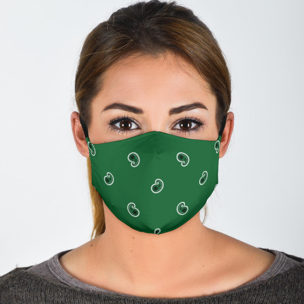 Adjustable Classic Green Paisley Face Mask with 5 Layer Filters